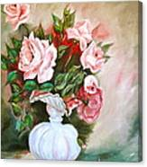Roses In Vase Canvas Print