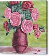 Roses In Vase Canvas Print
