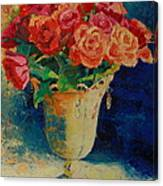 Roses In Wire Vase Canvas Print
