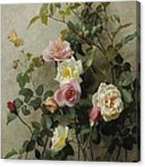 Roses On A Wall Canvas Print