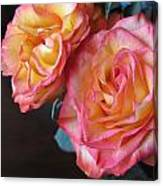 Roses On Dark Background Canvas Print