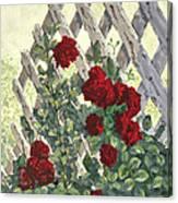 Roses On Lattice Canvas Print