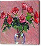 Roses On Pink Canvas Print