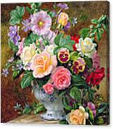 Roses Pansies And Other Flowers In A Vase Canvas Print