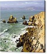 Rough Californian Shore Near San Francisco Ca Cliff House 2 Canvas Print