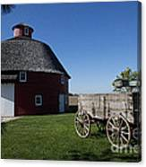 Round Barn Wooden Wagon Canvas Print
