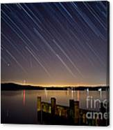 Round Bay Startrails And A Meteor Shower Canvas Print