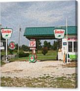 Route 66 Gas Station With Sponge Painting Effect Canvas Print
