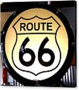 Route 66 Lighted Sign Canvas Print