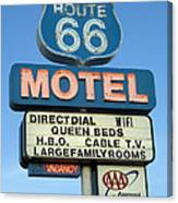 Route 66 Motel Sign 3 Canvas Print