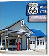 Route 66 Odell Il Gas Station Signage 01 Canvas Print