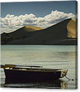 Row Boat On Silver Lake With Dunes Canvas Print