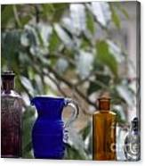 Row Of Colorful Glass Bottles  Canvas Print