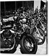 Row Of Harley Davidson Motorbikes Including Sportster Outside Motorcycle Dealership Orlando Florida  Canvas Print