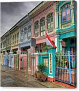 Row Of Historic Colorful Peranakan House Canvas Print