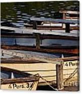 Rowboats At A Lake Canvas Print