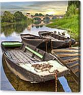 Rowboats On The French Canals Canvas Print