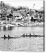 Rowing Along The Schuylkill River In Black And White Canvas Print