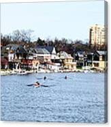 Rowing At Boathouse Row Canvas Print