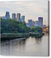 Rowing On The Schuylkill Riverwith Philadelphia Cityscape In Vie Canvas Print