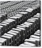 Rows Of Concrete Bricks Drying Canvas Print