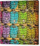 Rows Of Flip-flops Key West - Square - Hdr Style Canvas Print
