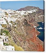 Rows Of Houses Perch On Cliff In Oia Canvas Print