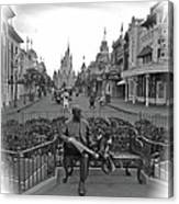 Roy And Minnie Mouse Black And White Magic Kingdom Walt Disney World Canvas Print