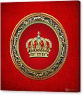 Royal Crown In Gold On Red  Canvas Print