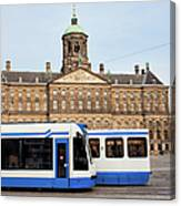 Royal Palace And Trams In Amsterdam Canvas Print