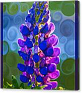 Royal Purple Lupine Flower Abstract Art Canvas Print