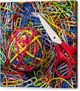 Rubber Band Ball With Sccisors Canvas Print