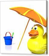 Rubber Duck At The Beach Canvas Print