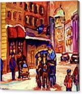 Rue St. Paul Old Montreal Streetscene In Winter Canvas Print