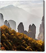 Rugged Cliffs And A Monastery  Meteora Canvas Print