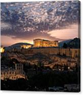 Ruins Of A Temple, Athens, Attica Canvas Print