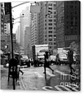 Running In The Rain - New York City Street Scene Canvas Print