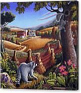 Rural Country Farm Life Landscape Folk Art Raccoon Squirrel Rustic Americana Scene  Canvas Print