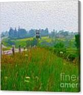 Rural Highway In Oil Paint Canvas Print