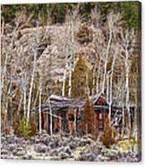 Rural Rustic Rundown Rocky Mountain Cabin Canvas Print