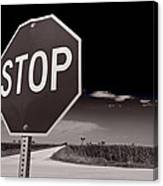 Rural Stop Sign Bw Canvas Print