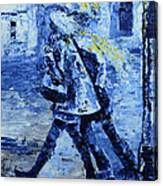 Rushing In The Rain  Canvas Print