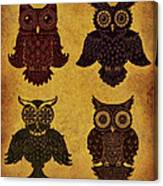 Rustic Aged 4 Owls Canvas Print