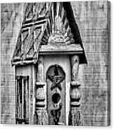 Rustic Birdhouse - Bw Canvas Print