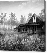 Rustic Historic Woodlea House - Black And White Canvas Print