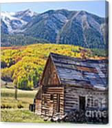 Rustic Rural Colorado Cabin Autumn Landscape Canvas Print