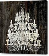 Rustic Shabby Chic White Chandelier On Wood Canvas Print