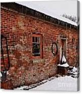 Rustic Workshop In Winter Canvas Print