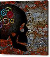 Rusty Gears On Skull Grunge Texture Background Canvas Print