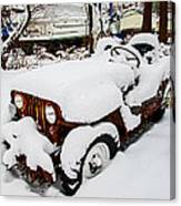 Rusty Jeep In Snow Canvas Print
